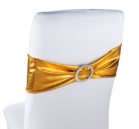 Chair Sashes – 50 Pack Wedding Gold Chair Sashes Bows Buckles, Chair Decoration Banquet Decoration, Anniversary Party Bridal Shower, Gold, 26.4 x 6.2 inches