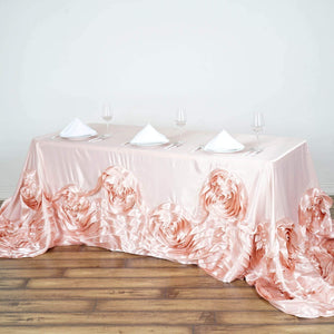 "Efavormart 90""x132"" Rose Gold/Blush Large Rosette Oblong Rectangular Lamour Satin Tablecloth for Wedding Party Dining Birthday"