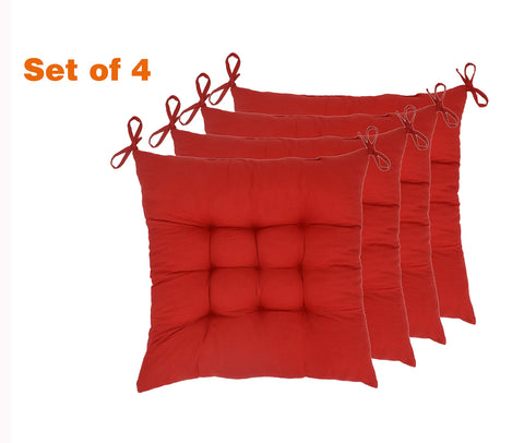 "ELFJOY Set of 4 Solid Square 16"" x 16"" Tufted Chair Pads Indoor Seat Cushions Pillows with Ties (Red)"