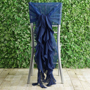Tableclothsfactory 1 Set Navy Blue Premium Designer Curly Willow Chiffon Chair Sashes for Home Wedding Birthday Party Dance Banquet