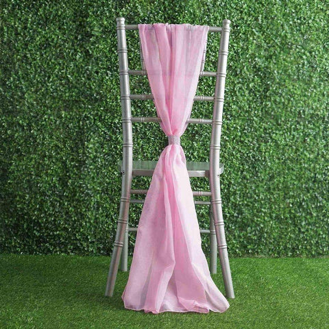 20 pcs Premium Chiffon Wide Chair Sashes for Wedding Party Decorations Supplies (Pink)