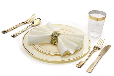 """ OCCASIONS"" 360 Piece / 40 Guest - Full Tableware Set - Wedding Disposable Plastic Plates, Plastic Silverware, Gold Rimmed Tumblers & Linen Feel Napkins w/napkin Rings (Combo C, Ivory/Gold)"