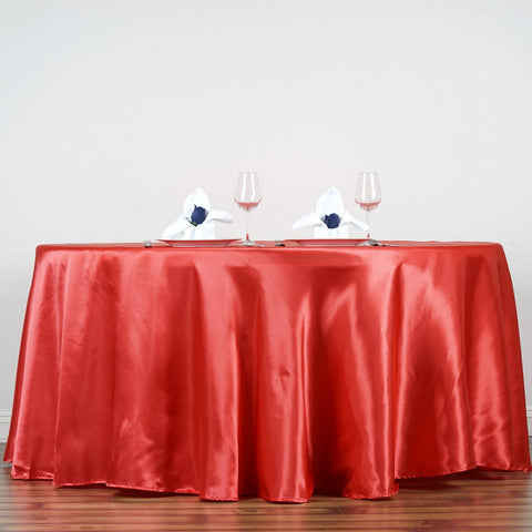 "Efavormart 90"" Coral Wholesale Linens Satin Round Tablecloth for Kitchen Dining Catering Wedding Birthday Party Events"