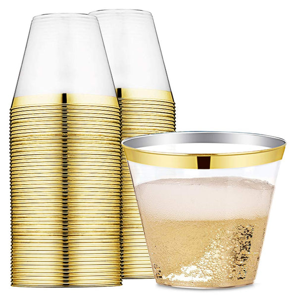 9 oz Gold Rimmed Plastic Cups Clear Plastic Tumblers - Disposable Hard Party Wedding Plastic Cups 60 Pack (Gold Cups)
