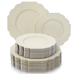 PARTY DISPOSABLE 40 PC DINNERWARE SET | 20 Dinner Plates and 20 Salad or Dessert Plates | Heavyweight Plastic Dishes | Elegant Fine China Look | for Upscale Wedding and Dining (Baroque – Ivory)