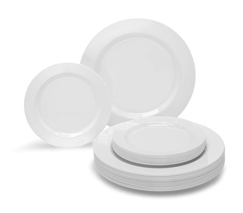 OCCASIONS 240 PACK Wedding Heavyweight Wedding Party Disposable Plastic Plates Set - 120 x 10.5'' Dinner + 120 x 7.5'' Salad/Dessert Plate (Plain White)