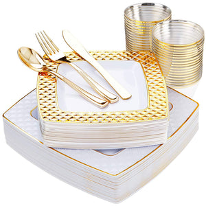 150 PCS Gold Square Plates with Disposable Plastic Silverware, Elegant Tableware Set Includes 25 10'' Dinner Plates + 25 7.6'' Dessert Plates + 25 Forks+25 Spoons+25 Knives + 25 9oz Cups in Gold