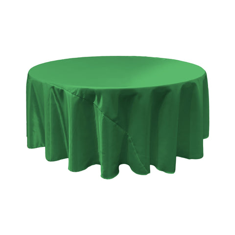 LA Linen Bridal Satin Round Tablecloth, 132-Inch, Green Kelly