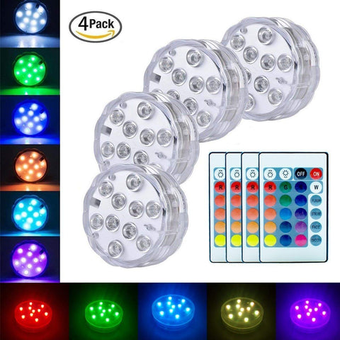 Submersible Led Lights Battery Operated Spot Lights With Remote Small Lamps Decorative Fish Bowl Light Remote Controlled Small Led Lights For Aquarium Vase Base Pond Wedding Halloween Party (4 Pack)