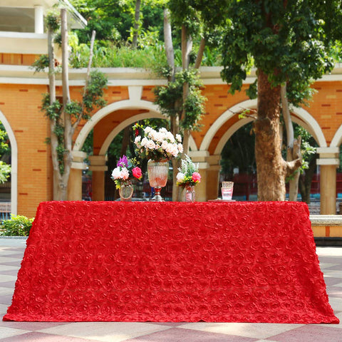 "B-COOL Square Rosette Tablecloth Red Colorfast Elegant Difined 3D Linen for Wedding/Party/Birthday/Baby Shower/New Year 90""x132"""