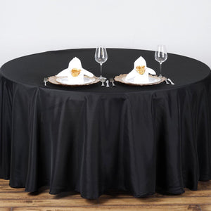 "Efavormart 90"" Round Black Wholesale Linens Polyester Round Tablecloth for Wedding Party Decor Kitchen Dining Catering Birthday"