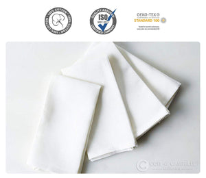 Coit & Campbell Daily Use Table Napkins 100% Cotton Plain White Satin Dinner Napkins (18x18) - Ideal for Regular Home Use, Machine Washable (6 Pack)