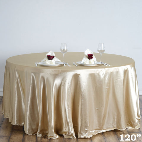 "Efavormart 120"" Champagne Wholesale Linens Satin Round Tablecloth for Kitchen Dining Catering Wedding Birthday Party Events"