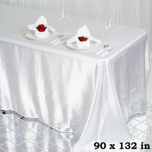 BalsaCircle 90x132 inch White Satin Rectangle Tablecloth Table Cover Linens for Wedding Table Cloth Party Reception Events Kitchen Dining