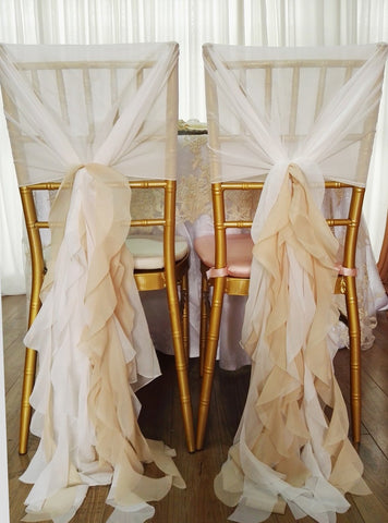 5pcs Chiffon Chair wrap Hood Cover Curly Willow Sashes for Wedding Decoration