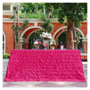 "Rose Red Rosette Pattern Rectangle Tablecloth 90""x132"" Banquet Decoration"