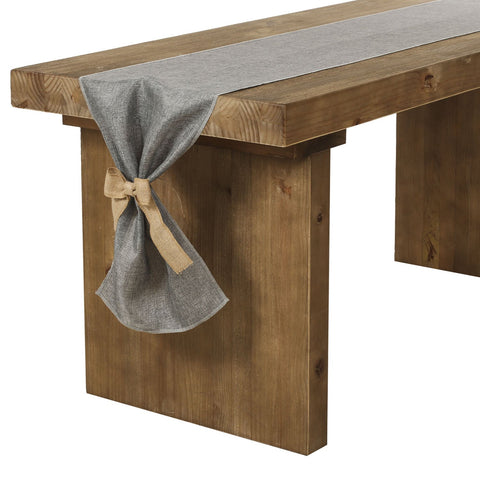 Ling's moment Gray Burlap Table Runner 14 x 72 Inch with Bow Ties for Farmhouse Table Runner Dresser Cover Runner Wedding Party Fall Decorations