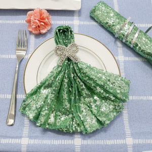 TRLYC 20 Pieces 20 x 20 inch Premium Sequin Napkins For Wedding Birthday Party Holiday-Mint
