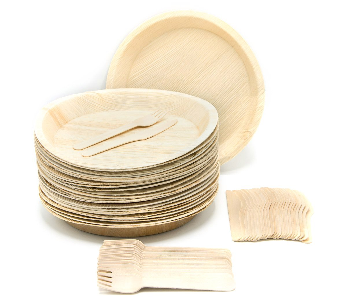 "Eco-Friendly Disposable Dinnerware Set of 75 Party Supplies: Large 10"" Round Palm Leaf Plates (25), Wooden Forks(25) & Knives (25) - Natural, Compostable"