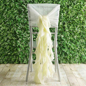 Tableclothsfactory 1 Set Ivory Premium Designer Curly Willow Chiffon Chair Sashes for Home Wedding Birthday Party Dance Banquet