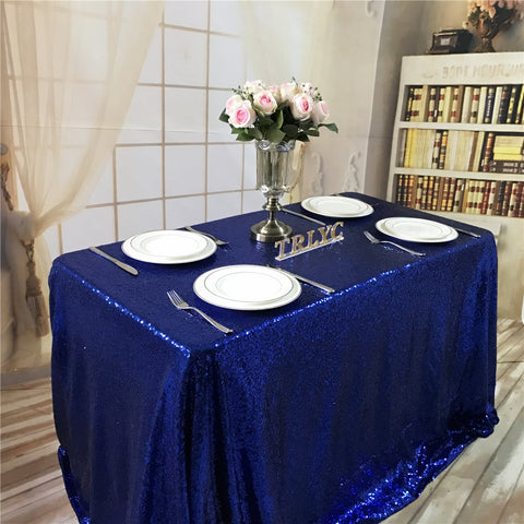 BalsaCircle TRLYC 50x50-Inch Square Sequin Tablecloth for Wedding Happy New Year-Royal Blue