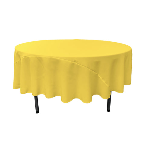 LA Linen 90-Inch Round Polyester Poplin Tablecloth, Light Yellow