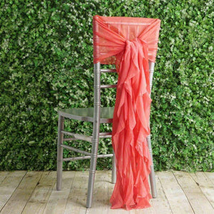 1 Premium Chair Cover with Curly Chiffon Ruffled Sashes for Wedding Decorations (Coral)