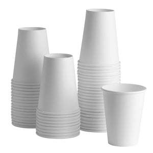 [100 Pack] 12 oz. White Paper Hot Cups - Coffee Cups