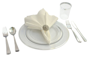 """OCCASIONS"" Full set - Wedding Disposable Plastic Plates, plastic silverware, tumblers and linen feel napkins w/napkin rings (20, White- Silver w/Real Rhinestone Metal Rings)"