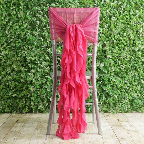 BalsaCircle 10 Fuchsia Premium Curly Chiffon Chair Cover Caps with Sashes - Wedding Party Ceremony Reception Decorations Supplies