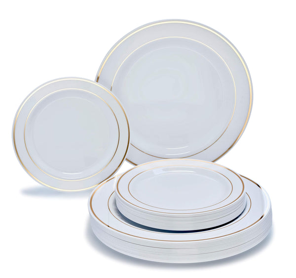 """ OCCASIONS"" 240 Piece Pack Premium Disposable Plastic Plates Set - 120 x 10.5'' Dinner + 120 x 7.5'' Salad/dessert (White w/Gold Rim)"