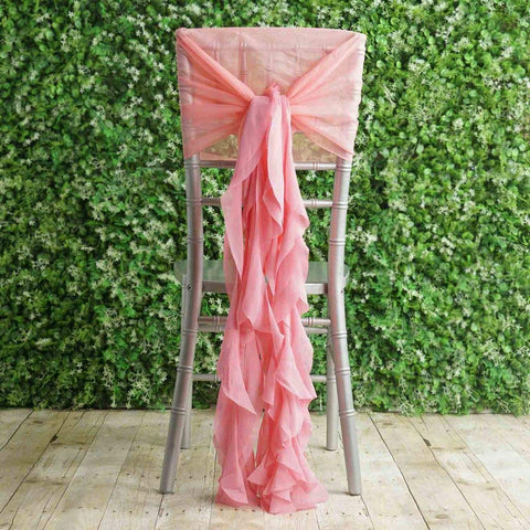 Tableclothsfactory 1 Set Rose Quartz Premium Designer Curly Willow Chiffon Chair Sashes for Home Wedding Birthday Party Dance Banquet