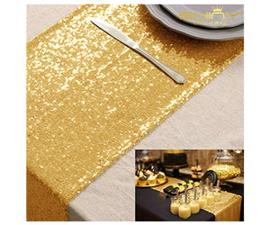 ShinyBeauty 12x72-Inch Rectangle-Gold-Sequin Table Runner- for Wedding/Party/Decor (12x72-Inch)