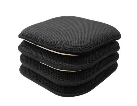 GoodGram 4 Pack Non Slip Honeycomb Premium Comfort Memory Foam Chair Pads/Cushions - Assorted Colors (Black)
