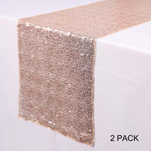 N&Y HOME 2 Pack Rose Gold Sequin Table Runners - 12 x 72 inch Glitter Sequin Runner for Wedding, Birthday, Party, Baby Shower Decorations, Celebrations and Events