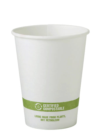 World Centric CU-PA-12 100% Compostable FSC Mix Paper Hot Cups, 12 oz, White (Pack of 1000)