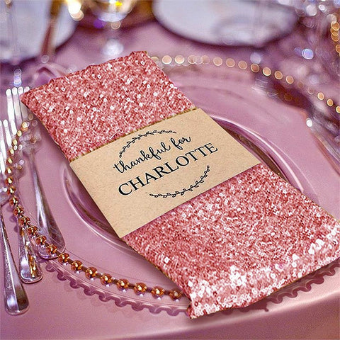"Efavormart Tableclothsfactory 1 PC Blush Premium 20"" x 20"" Washable Sequin Napkins Great for Wedding Party Restaurant Dinner Parties Decoration"