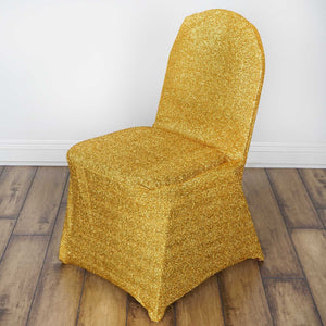 BalsaCircle 10 pcs Gold Metallic Spandex Banquet Chair Covers Slipcovers for Wedding Party Reception Decorations
