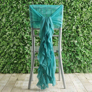 BalsaCircle 10 Turquoise Premium Curly Chiffon Chair Cover Caps with Sashes - Wedding Party Ceremony Reception Decorations Supplies