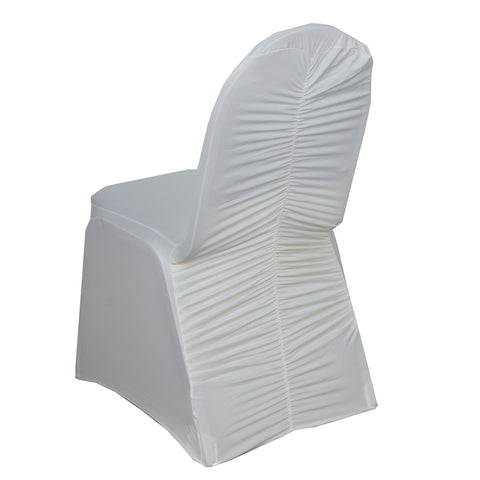 BalsaCircle 10 pcs Ivory Ruched Spandex Banquet Chair Covers Slipcovers for Wedding Party Reception Decorations
