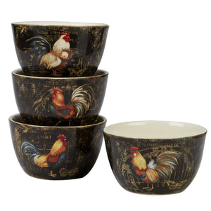 "Certified International Gilded Rooster Set/4 Ice Cream Bowl  5.25"", Assorted Designs,One Size, Multicolored"