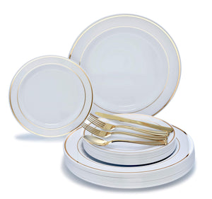 """ OCCASIONS"" 720 PCS / 120 GUEST Wedding Disposable Plastic Plate and Silverware Combo Set, (White/Gold Rim plates, Gold silverware)"