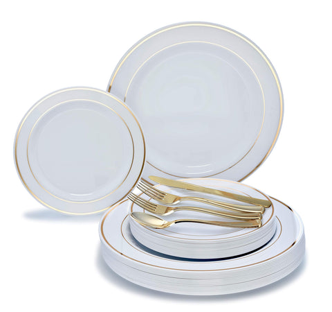 """ OCCASIONS"" 360 PCS / 60 GUEST Wedding Disposable Plastic Plate and Silverware Combo Set, (White/Gold Rim plates, Gold silverware)"