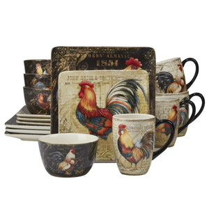 Certified International 89014 Gilded Rooster Dinnerware.Tabletop One Size Multicolor