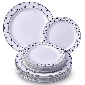 PARTY DISPOSABLE 24 PC DINNERWARE SET | 12 Dinner Plates | 12 Dessert Plates | Heavy Duty Plastic Dishes | Elegant Fine China Look | for Upscale Wedding and Dining (Dots–Black/White)