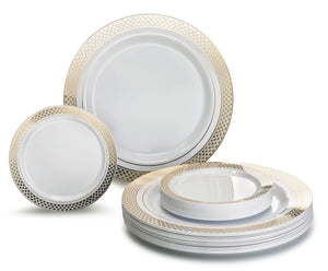"""OCCASIONS"" 240 Pack, Premium Disposable Plastic plates, 120 x 10.5'' Dinner + 120 x 6'' Cake plates (Celebration White/Gold)"