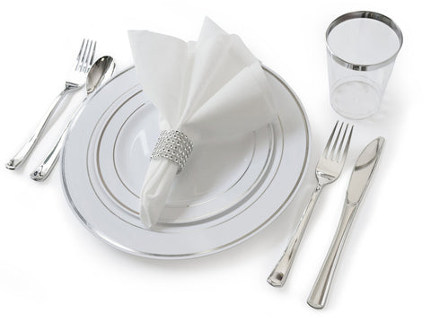 """ OCCASIONS"" 360 Piece / 40 Guest - Full Tableware Set - Wedding Disposable Plastic Plates, Plastic Silverware, Silver Rimmed Tumblers & Linen Feel Napkins w/napkin Rings (Combo C, White/Silver)"