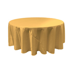 LA Linen Bridal Satin Round Tablecloth, 120-Inch, Gold