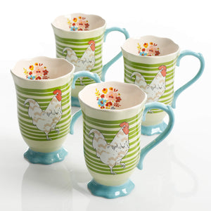 Urban Market by Gibson 125102.04RM Life on the Farm Footed, 4 Pack, Rooster Tea Cups, Green