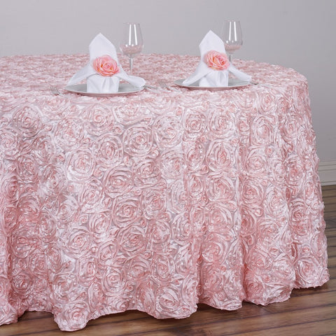 "BalsaCircle 132"" Blush Satin Raised Rosettes Round Tablecloth Wedding Party Dining Room Table Linens"